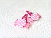 Ozdoby do vlasov - Pin Up cukríkové sponky do vlasov (ružové/biele bodky) - 10925061_