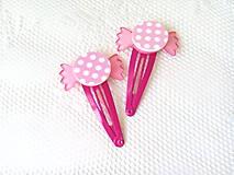 Ozdoby do vlasov - Pin Up cukríkové sponky do vlasov (ružové/biele bodky) - 10925062_
