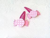 Ozdoby do vlasov - Pin Up cukríkové sponky do vlasov (ružové/biele bodky) - 10925063_