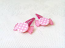 Ozdoby do vlasov - Pin Up cukríkové sponky do vlasov (ružové/biele bodky) - 10925064_
