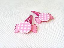 Ozdoby do vlasov - Pin Up cukríkové sponky do vlasov (ružové/biele bodky) - 10925065_