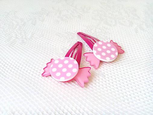 Pin Up cukríkové sponky do vlasov (ružové/biele bodky)