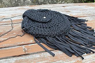 Kabelky - Čierna háčkovaná kabelka - 10926726_