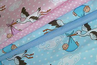 Textil - Látka Deti nosí bocian - 10926080_
