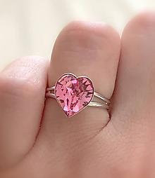 Prstene - Prsteň srdce Swarovski - 10925605_