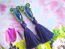 Náušnice - modrý kryštál - 10926203_