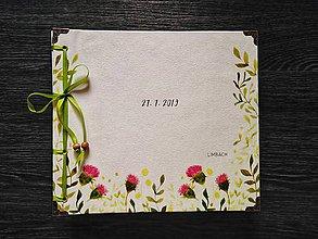 Papiernictvo - Fotoalbum klasický, papierový obal so štruktúrou plátna a personalizovanou vlastnou potlačou na prednej strane (Fotoalbum klasický, papierový obal so štruktúrou plátna a personalizovanou  potlačou na prednej strane (venček z oznámenia)) - 10925639_
