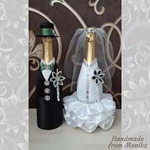 Nádoby - Svadobné návleky na fľaše - 10926753_