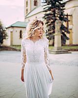 Šaty - Svadobné šaty z dizajnérskej krajky a tylovou sukňou - 10924864_