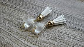 Náušnice - Ľadové srdiečka so strapcami, č. 2811 - 10925830_