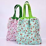 Iné tašky - Taška tyrkysová s ružičkami ~ tvoritaška + nákupná - 10925046_