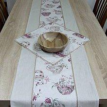 Úžitkový textil - ETELA-kvetinové šálky režnej-stredový obrus - 10926222_
