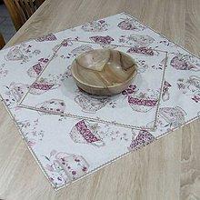 Úžitkový textil - ETELA-kvetinové šálky režnej-obrus štvorec - 10926514_