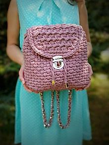 Batohy - Háčkovaný ruksak - dusty pink - 10924987_