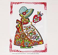 Papiernictvo - DIEVČATKO A VTÁČIK ♥ Folk klasická pohľadnica - 10926462_