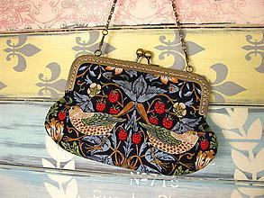 Kabelky - Kabelečka Strawberry Thief - modrá - sleva z 23eur - 10925696_