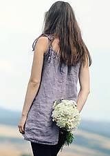 Topy - Lněný top / šaty Lila - 10926423_