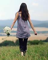Topy - Lněný top / šaty Lila - 10926424_