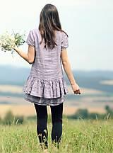Topy - Lněný top / šaty Lila - 10926425_