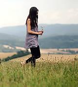 Topy - Lněný top / šaty Lila - 10926426_