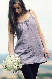 Topy - Lněný top / šaty Lila - 10926422_