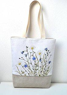 Veľké tašky - Ľanová taška-ručne maľovaná-Zvončeky a margaréty - 10928191_