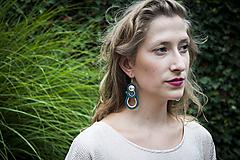 Náušnice - Princezná Viera -zelená- Ručne šité šujtášové náušnice - Soutache earrings - 10928213_