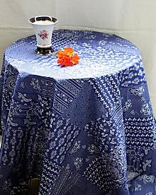 Úžitkový textil - Obrus. Modrotlačový ako z drevenej chalúpky. - 10927436_