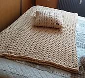 Úžitkový textil - Jemnučká a ľahká deka z priadze alize puffy (cca (165 x 185) cm - Béžová) - 10927912_