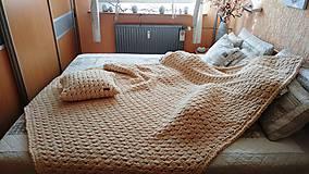 Úžitkový textil - Jemnučká a ľahká deka z priadze alize puffy (cca (165 x 185) cm - Béžová) - 10927913_