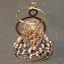 Drobnosti - Zvonček drôtený pozlátený - 10928559_