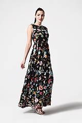Šaty - Šaty čierne vyšívaná krajka dlhé - 10929391_