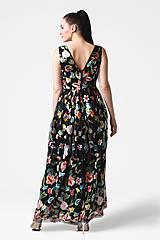 Šaty - Šaty čierne vyšívaná krajka dlhé - 10929392_