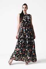 Šaty - Šaty čierne vyšívaná krajka dlhé - 10929393_