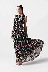 Šaty - Šaty čierne vyšívaná krajka dlhé - 10929394_