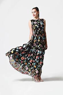 Šaty - Šaty čierne vyšívaná krajka dlhé - 10929395_