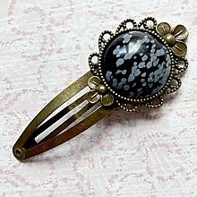 Ozdoby do vlasov - Vintage Snowflake Obsidian Hair Clip / Veľká vintage sponka s obsidiánom - 10931791_