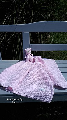 Textil - Detská deka + medvedík - baby ružová - 10930198_