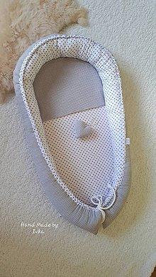 Textil - Hniezdo pre bábätko - sivé vafle / sivá bodka v bielom - 10931263_