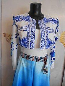Iné oblečenie - Folková vesta - Modrá ornamentika - 10930436_