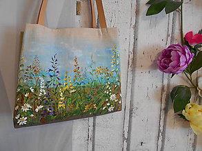 """Kabelky - Ľanová kabelka, ručne maľovaná """" Kvetinová lúka """" - Rezervácia - 10930744_"""