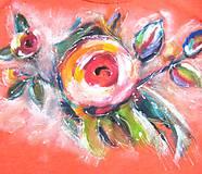 Tričká - Červené s ružou - 10930329_