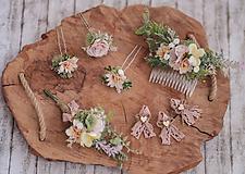 Ozdoby do vlasov - Svadobný set staroružová romantika - pierko, hrebienok, vlásenky - predajné as samostatne - 10929178_