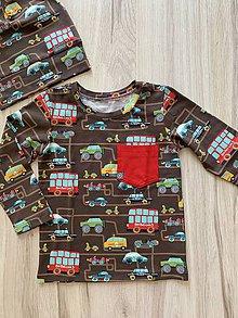 Detské oblečenie - Tričko s dlhým rukávom autá 92 s čiapkou - 10930346_