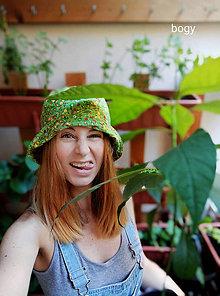 Čiapky - letní plátěný zelený klobouk, střih kakáč 57/58cm - 10930170_