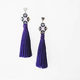 Náušnice - tmavo fialové strapce - 10930788_