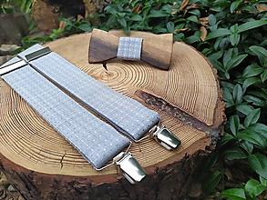 Doplnky - Pánsky drevený motýlik a traky - 10929824_