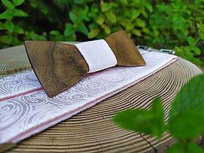 Doplnky - Pánsky drevený motýlik a traky - 10931181_