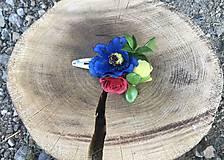 Ozdoby do vlasov - Kvetinová folk sponka/pukačka - 10932172_
