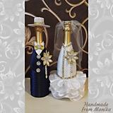 Nádoby - Svadobné gratulačné návleky na fľaše - set - 10929924_